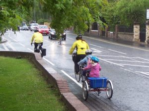 A family cycling in York