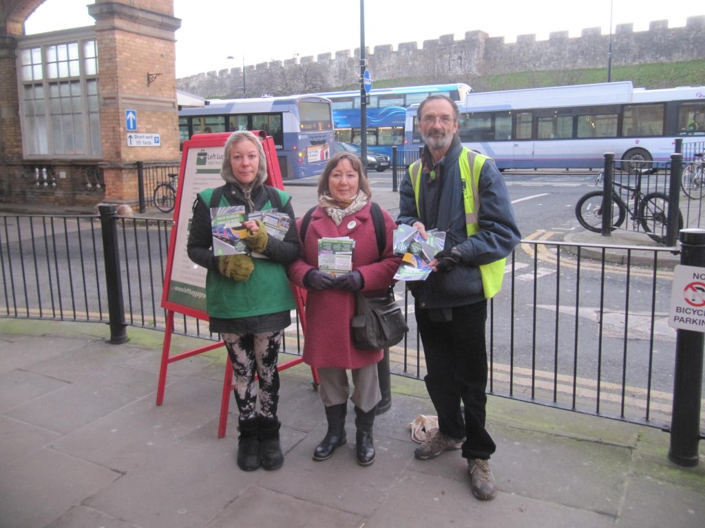 Councillor Andy D'Agorne with June Tranmer and Rosie Baker before handing out leaflets at York Station