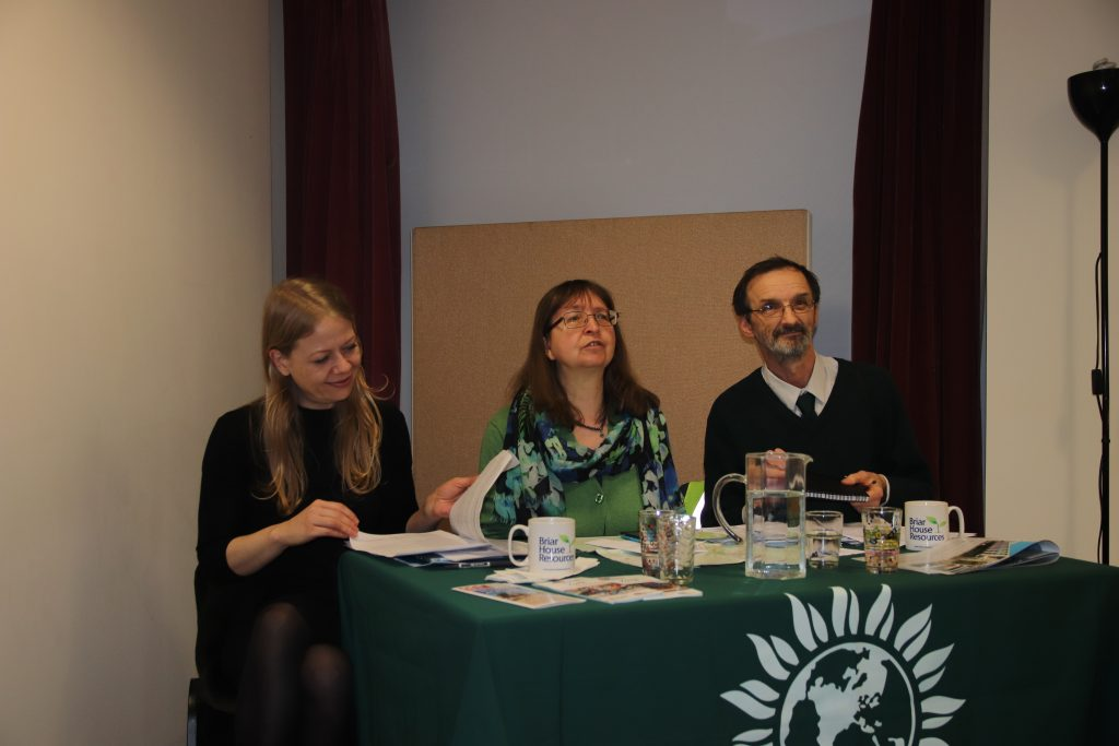 Sian Berry, co-leader of the Green Party, Councillor Denise Craghill and Andy D'Agorne