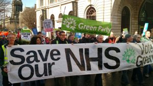 Save the NHS demo with strong Green party presence