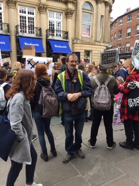 Councillor Andy D'Agorne at the climate strike