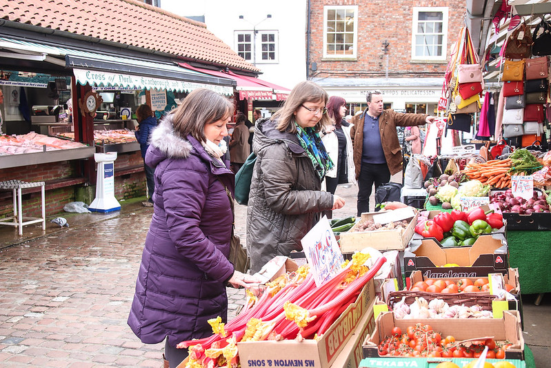 June Tranmer and Denise Craghill shopping in the market