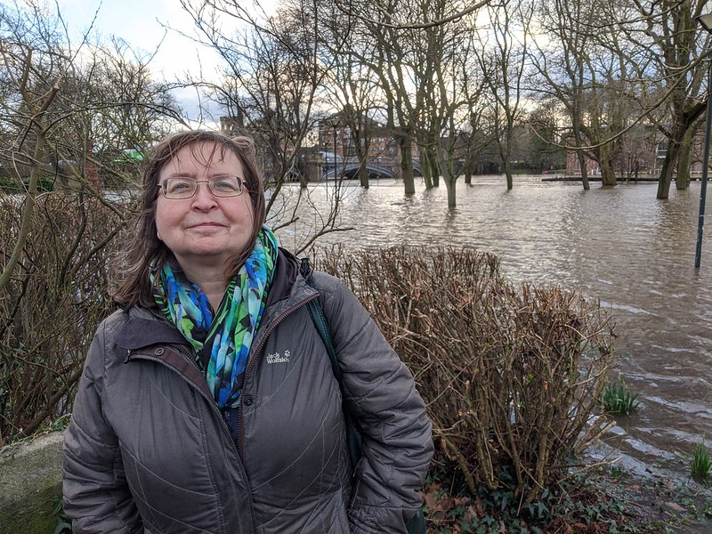 Denise Craghill by flooding in Tower Gardens