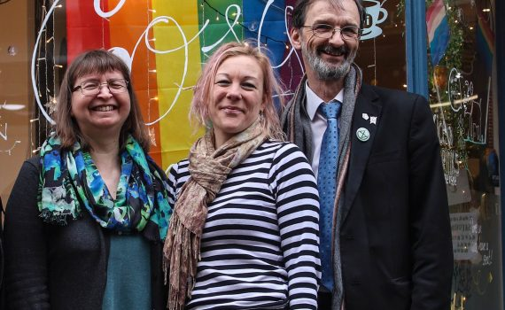 Councillors Denise Craghill, Rosie Baker and Andy D'Agorne in Fossgate